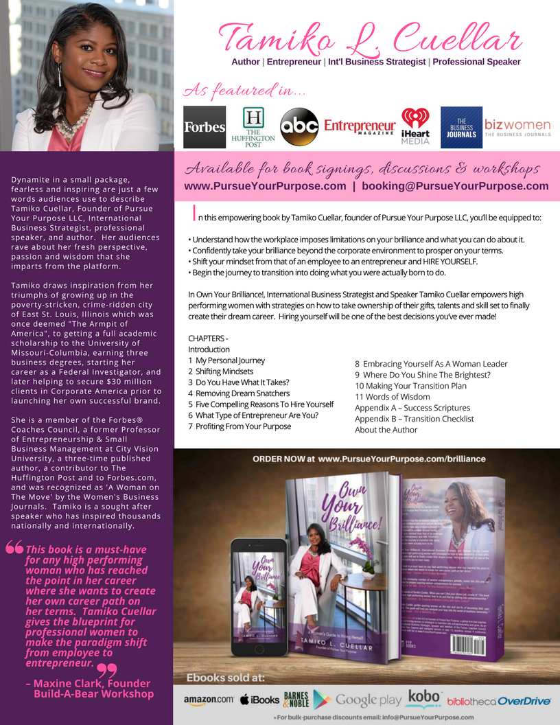 Own Your Brilliance book sell sheet png